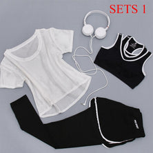 Women Sportswear 3 Piece Suit Fitness Yoga Set T-Shirt, Bra & Shorts