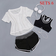 Women Sportwear 3 Pieces Suits Fitness Yoga Set T-Shirt&Bra&Shorts