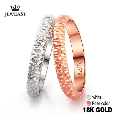 18k Pure Gold Ring Rose White Unisex Men Women Couple