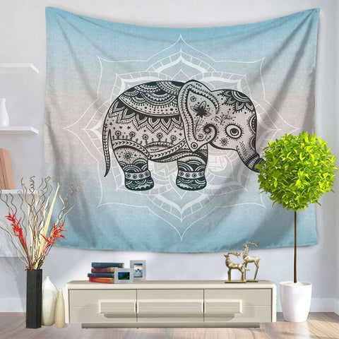 Cute Baby Elephant with Black Mandala