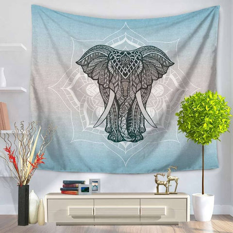 Black and White Mandala Patterned Elephant