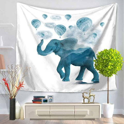 Blue Elephant with Hot Air Balloons