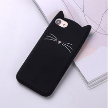 Cute 3D Silicone Cartoon Cat Pink Black Soft Phone Case Cover For iPhone 7 7Plus 6 6S 5S SE X  XS Max