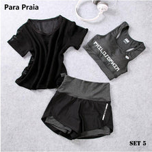 High Waist Three Piece Yoga Set Sportswear for Women