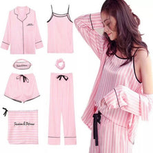 Pink Striped Pajamas Silk Satin Femme Pajama Set 7 Pieces