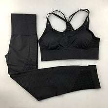 Woman Gym Leggings Padded Push-up Strappy Sports Bra 2 Pcs Sports Suits