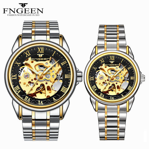 Couple Watches Top Brand Steel Mechanical Wrist Watch for Men and Women