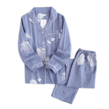Fresh maple leaf pajama sets women 100% gauze cotton long sleeve