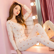 Polyester sleepwear lace nightie female pyjama set