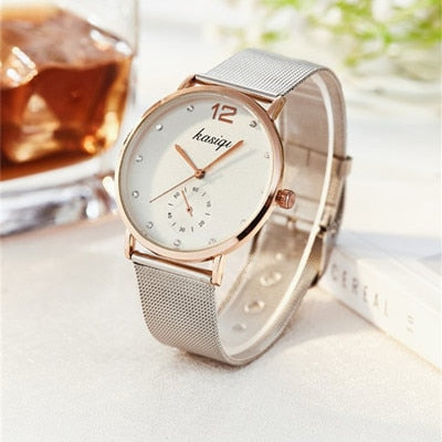 Stainless Steel Rhinestone Couple Watches
