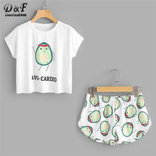 Dotfashion Cartoon Avocado Print Tee And Shorts Set