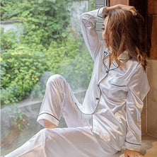 2  Piece Autumn Women Sleepwear Faux Silk Satin Pajamas Set
