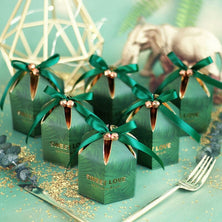 Green Candy Box With ribbon chocolate gift boxes