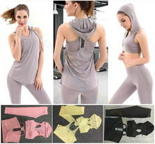 Gym Yoga hooded bra vest tank 3-piece suit