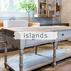 Rustic kitchen island with chippy great paint and wood top