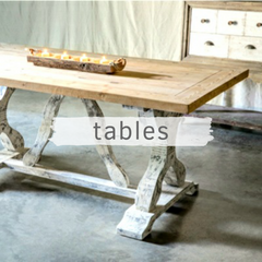 Farmhouse table with chippy white paint finish