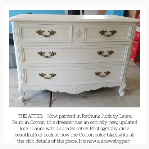 After picture of painted dresser in Cotton by Rethunk Junk Paint
