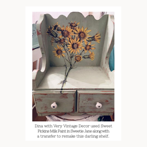 Painted cabinet with sunflower transfer