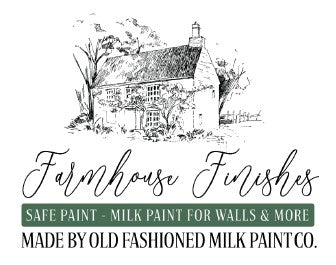 Farmhouse Finishes logo and Rustic Tuesday offers farmhouse finishes safe paint
