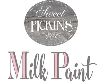 Sweet Pickins Milk Paint logo and Rustic Tuesday offers sweet Pickins Milk paint