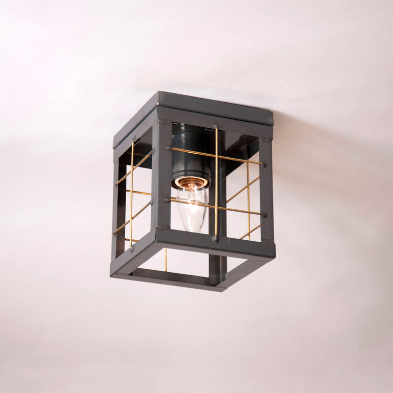 "<img src="" 144XCT.jpg "" alt="" Single Ceiling Light with Brass Bars in Country Tin "">"