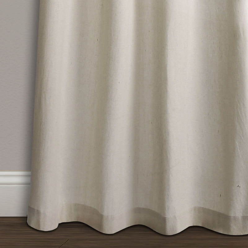 Milo Linen Window Curtain Panels Gray/Off White 52X84 Set