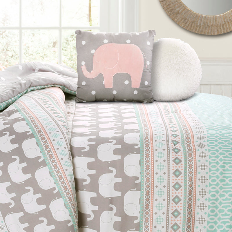 Elephant Stripe Comforter Turquoise/Pink 5Pc Set Full/Queen