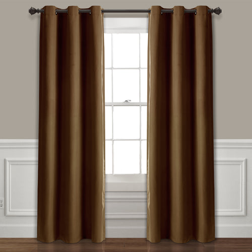 Absolute Blackout Window Curtain Panels Mocha 76X84 Set  38x84