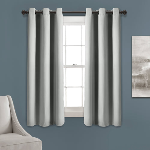 Absolute Blackout Window Curtain Panels Light Gray 76X63 Set  38x63