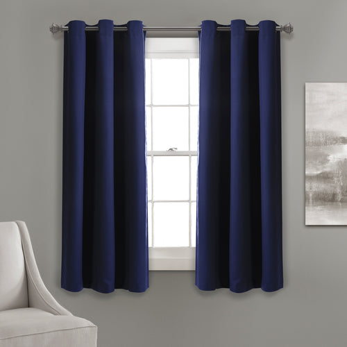 Absolute Blackout Window Curtain Panels Navy 76X63 Set  38x63
