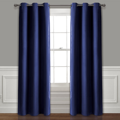 Absolute Blackout Window Curtain Panels Navy 76X95 Set  38X95
