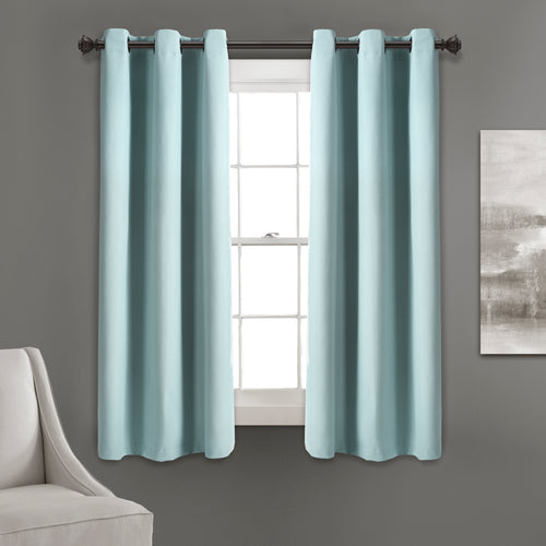 Absolute Blackout Window Curtain Panels Blue 76X63 Set  38x63