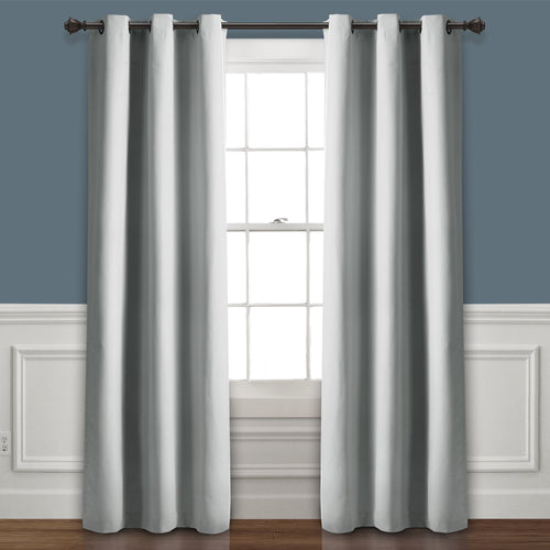 Absolute Blackout Window Curtain Panels Light Gray 76X108 Set  38X108