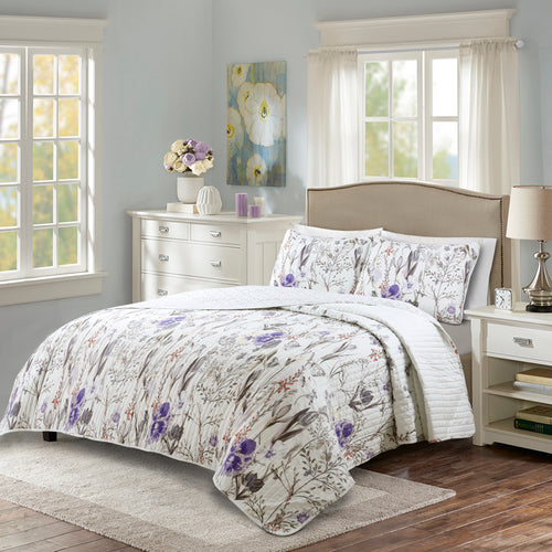 Adalia Quilt Purple/Gray 3Pc Set Full/Queen