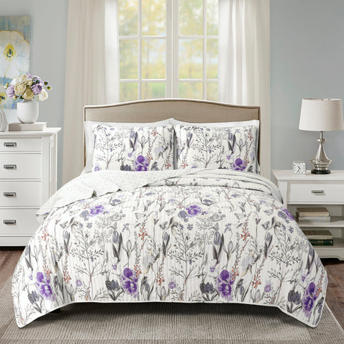 Adalia Quilt Purple/Gray 3Pc Set King