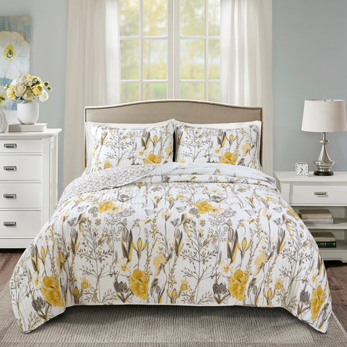 Adalia Quilt Yellow/Gray 3Pc Set Full/Queen