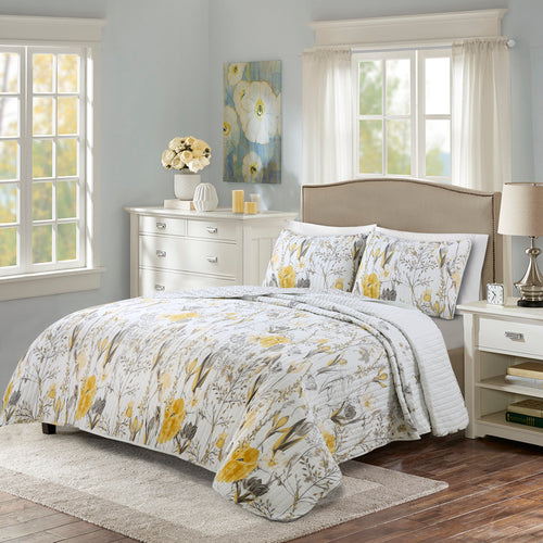 Adalia Quilt Yellow/Gray 3Pc Set King