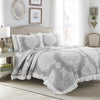 Lucianna Ruffle Edge Cotton Bedspread Gray 3Pc Set King