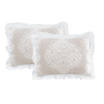 Lucianna Ruffle Edge Cotton Bedspread Taupe 3Pc Set King
