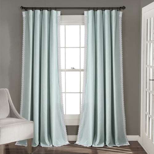 Rosalie Window Curtain Panels Blue 54x108 Set