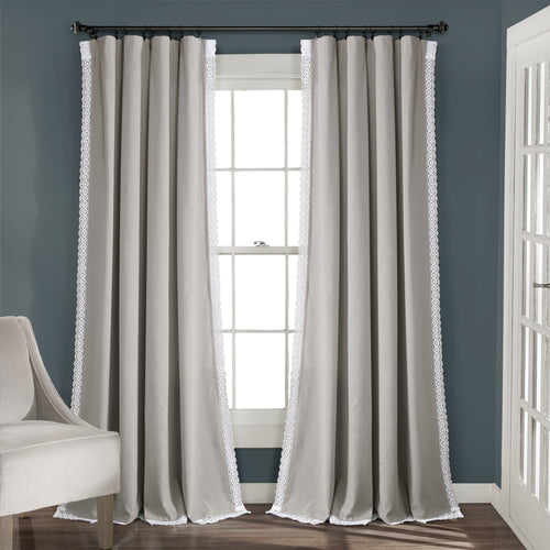 Rosalie Window Curtain Panels Light Gray 54x120 Set