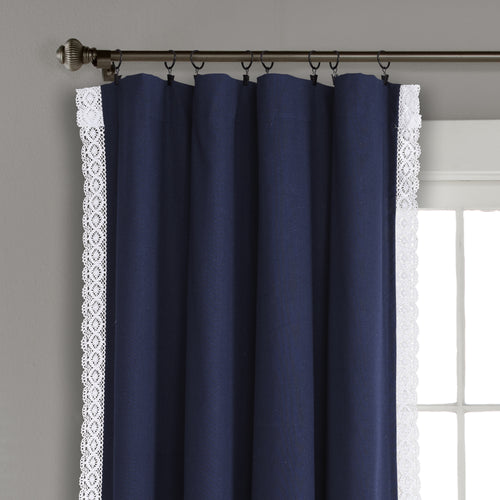 Rosalie Window Curtain Panels Navy 54x108 Set
