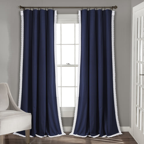 Rosalie Window Curtain Panels Navy 54x120 Set