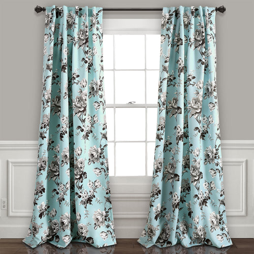 Tania Floral Room Darkening Window Curtain Panels Blue/Gray 52X95 Set