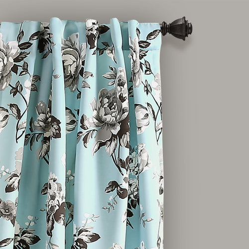 Tania Floral Room Darkening Window Curtain Panels Blue/Gray 52X108 Set