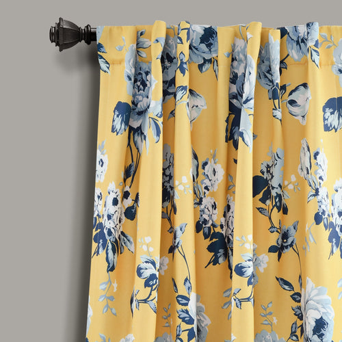 Tania Floral Room Darkening Window Curtain Panels Yellow/Blue 52X95 Set