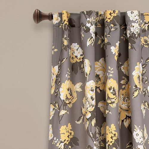 Tania Floral Room Darkening Window Curtain Panels Gray/Yellow 52X108 Set
