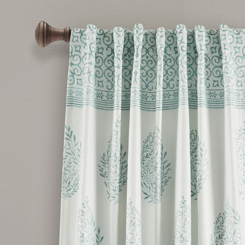Teardrop Leaf Room Darkening Window Curtain Panels Blue 52X95 Set