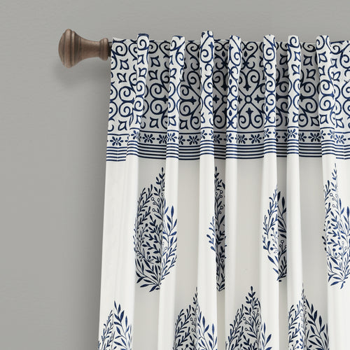 Teardrop Leaf Room Darkening Window Curtain Panels Navy 52X95 Set