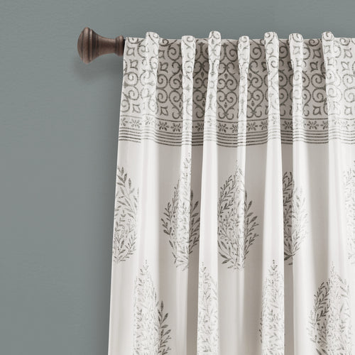 Teardrop Leaf Room Darkening Window Curtain Panels Gray 52X95 Set